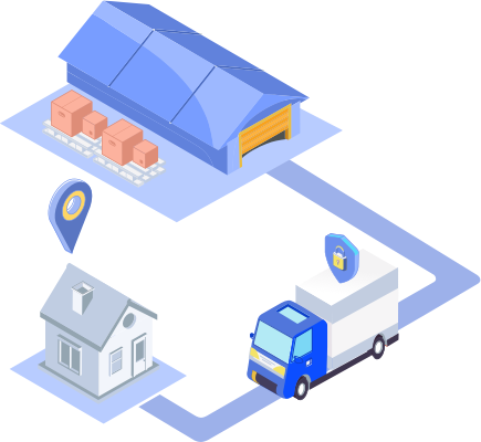 Illustration of a delivery route