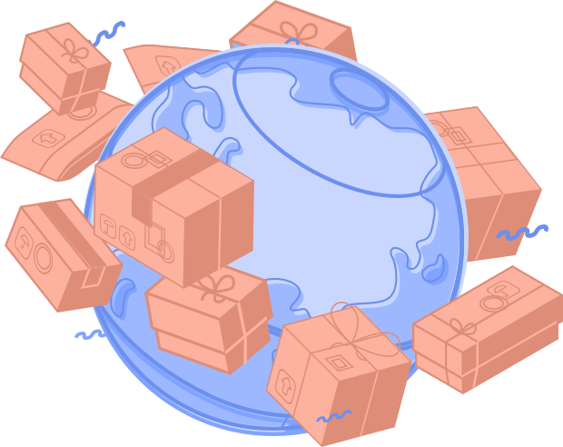 Illustration of packages delivered around the world